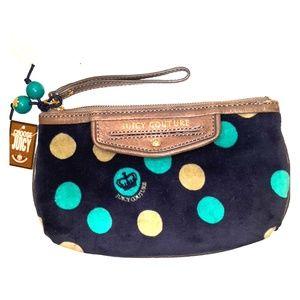 NWT  Juicy Couture Large polka Dot Wristlet Bag